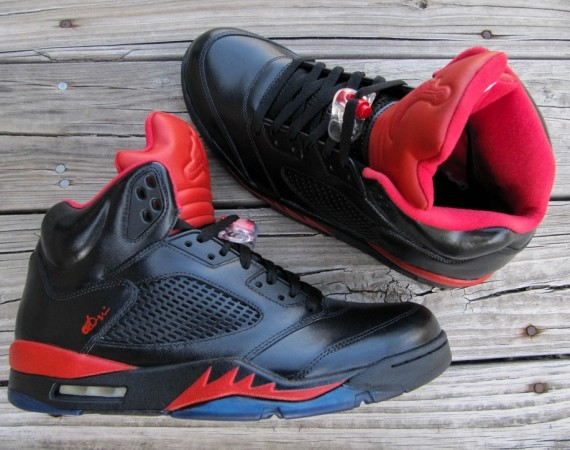 Air Jordan V: Infrared/Smoke Bottom Customs by Cali Kid Drew