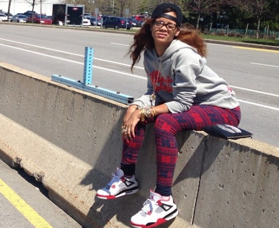 Rihanna Wearing Air Jordan IV Fire Red