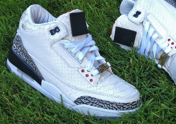 "Air Jordan III: ""White Python"" Customs for Wale by JBF"