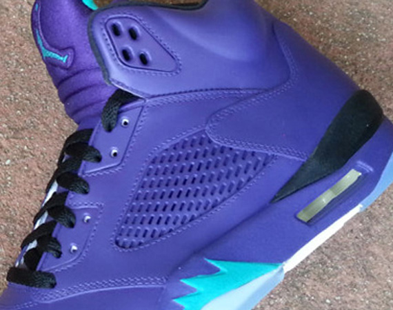 139b3210ea355 If the Air Jordan V  Black Grape  and original Air Jordan V  Grape  weren t  enough to satisfy your need for vintage 90s era Charlotte Hornets teal and  pur.