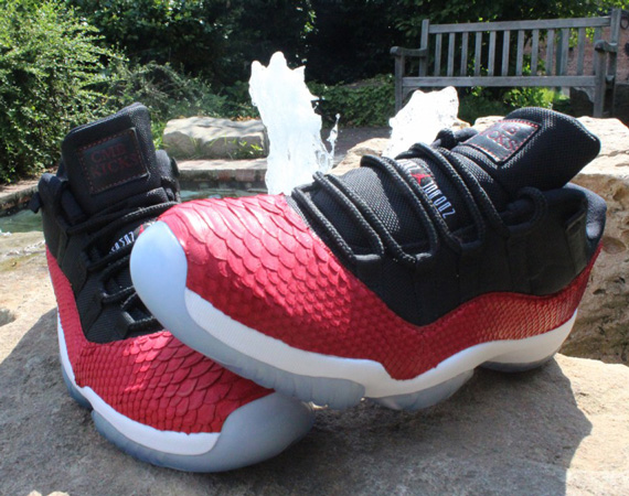 "Air Jordan XI Low: ""Red Python"" Customs by CMB Kicks"