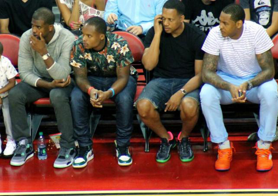 Carmelo Anthony and Chris Paul in Air Jordans at Team USA Basketball Showcase