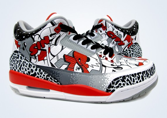 Air Jordan III: Sin City Customs by Sekure D