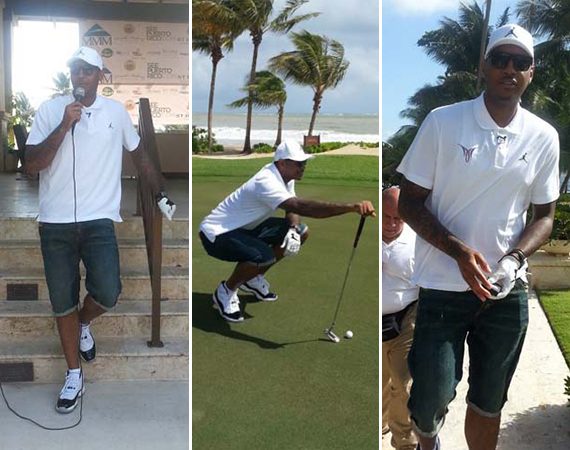 Carmelo Anthony Goes Golfing in Air Jordan XI Concord