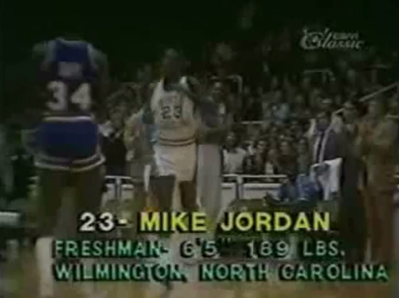 Watch Michael Jordans First Basket as a Tarheel