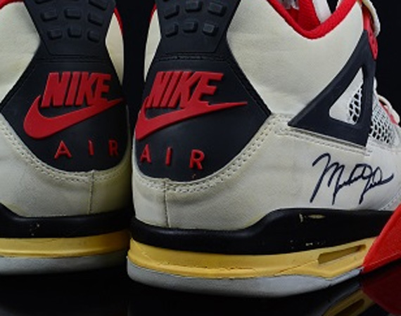 Air Jordan IV: Fire Red   Game Worn Autographed Pair   Available on eBay