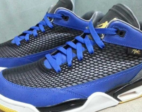 "b7b6fcd8923 The Jordan Flight Club 80s appears in a new colorway that seems to mirror  the upcoming Air Jordan 5 ""Laney"" release. The sneaker features a royal  blue upper ..."