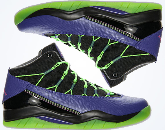 purple and green jordan shoes