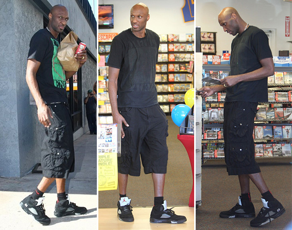 Lamar Odom Wears Air Jordan V: Metallic