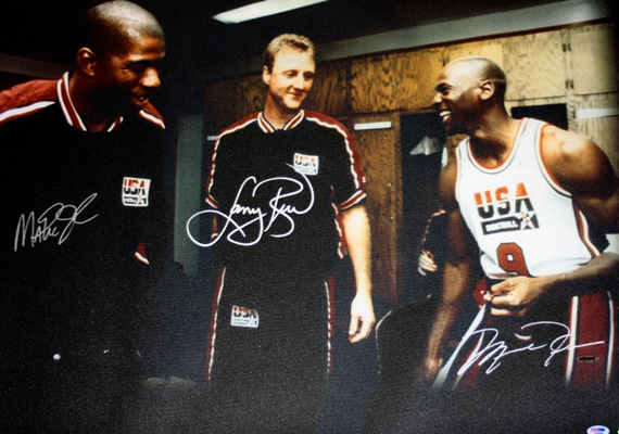 Vintage Gear: Dream Team   Magic, Bird, and Michael Jordan Autographed Photo