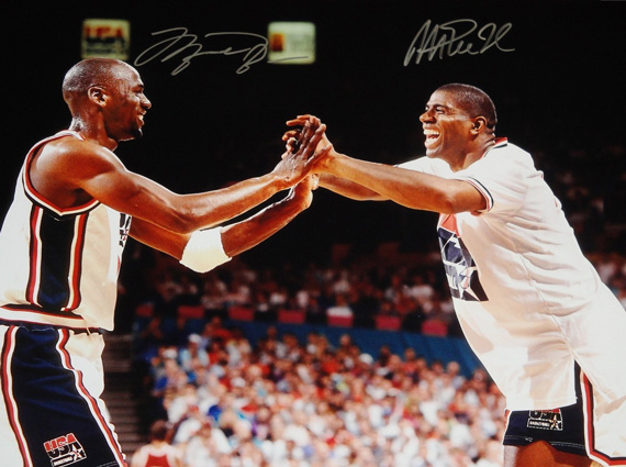 Vintage Gear: Michael Jordan and Magic Johnson Dream Team Autographed Picture