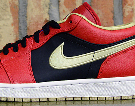 Air Jordan 1 Low: Gym Red   Game Royal   Black   Metallic Gold
