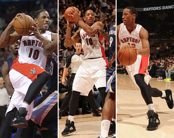 NBA Jordans on Court: DeMar DeRozan   Air Jordan 5 Black/3M Sample