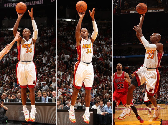 NBA Jordans on Court: Ray Allen   Air Jordan 11 Two Rings PE