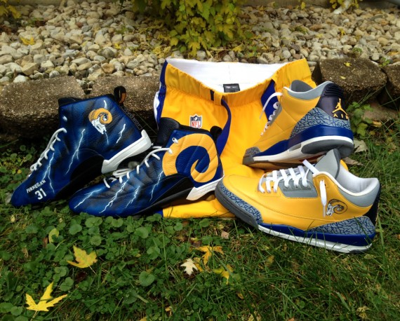 Air Jordan Throwback Los Angeles Rams Customs by DeJesus for Cortland Finnegan
