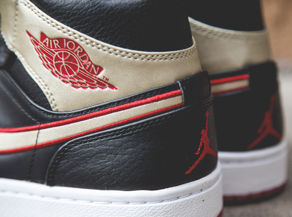 Air Jordan 1 Mid: Black   Gold   Red | Available