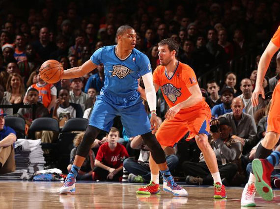 NBA Jordans on Court: Russell Westbrook   Air Jordan 10 Christmas PE