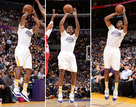 NBA Jordans on Court: Nick Young   Air Jordan 11 Low White/Purple Customs