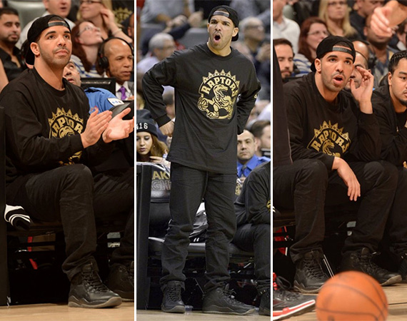 Drake Wears Air Jordan 10 OVO for Toronto Raptors Drake Night