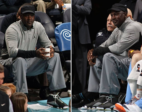 Michael Jordan Wears AIr Jordan 13 Black/Grey PE