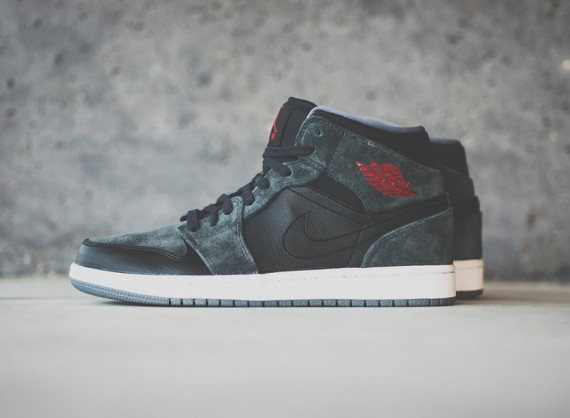 Air Jordan 1 Mid: Black   Gym Red   Charcoal Suede