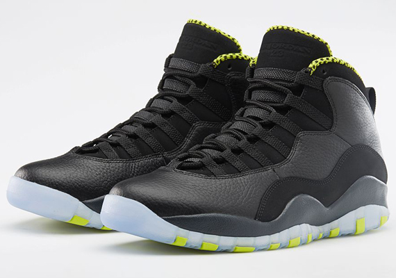 """The Air Jordan 10 """"Venom Green"""" arrives at retailers this weekend,  concluding the long vibrant green run that Jordan Brand has been on during  the new year."""