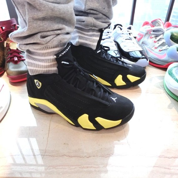 aeafe263496968 ... greece air jordan 14 thunder color black vibrant yellow white style  code 487471 070. release