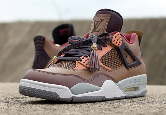Air Jordan 4: Patchwork Louis Vuitton Don by Dank Customs