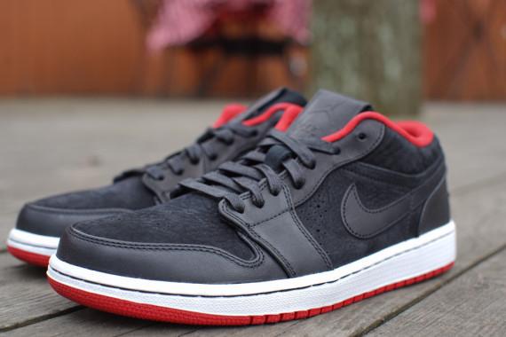 Air Jordan 1 Bas Nouveau Noir  / Gym Rouge-blanc