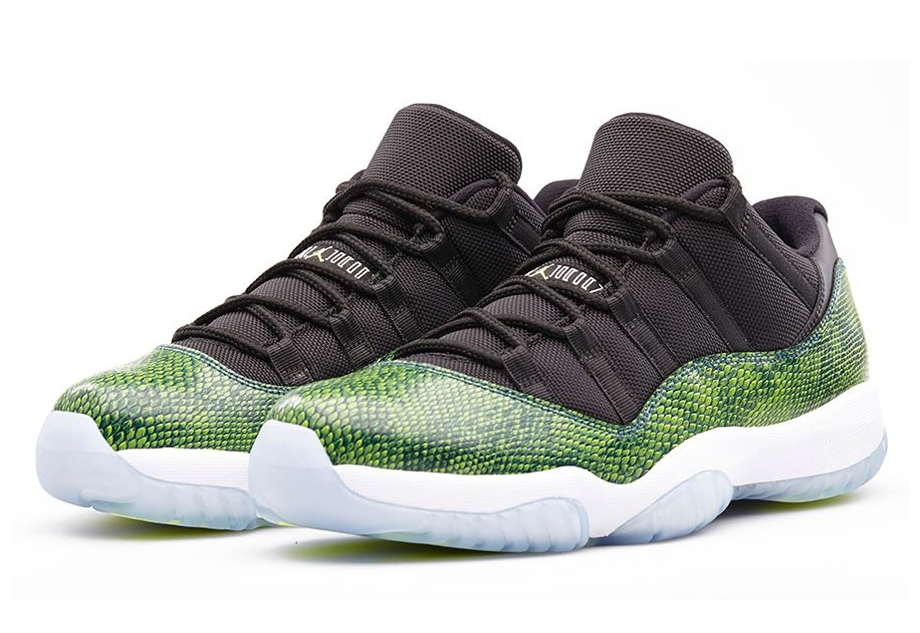"""d87128be4fb4 The Air Jordan 11 Low is finally arriving at retailers in the form of the """"Green  Snake"""" Air Jordan 11 Low this Saturday"""