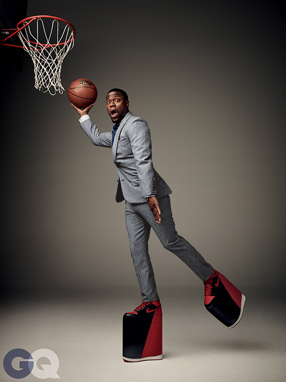 kevin hart poses for gq in air jordan 1  u0026quot bred u0026quot  platforms