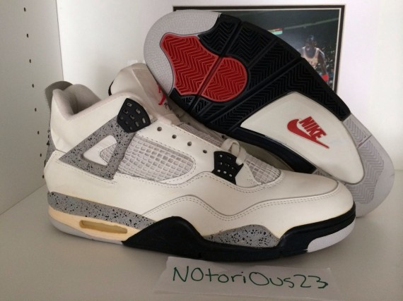 Air Jordan 4: White/Cement Original 1989 Pair   Available on eBay