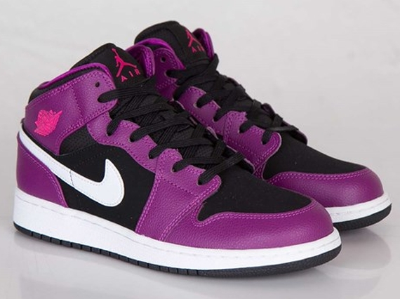 Air Jordan 1 Mid GS: Bright Grape   Vivid Pink