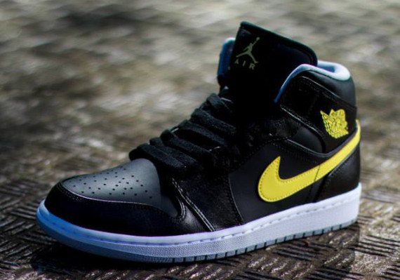 air jordan 1 mid black vibrant yellow color