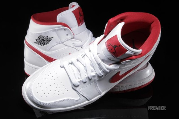 Air Jordan 1 Mid: White   Gym Red   Black