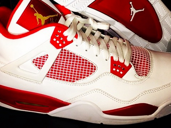 Carmelo Anthonys Air Jordan 4 White/Red PE