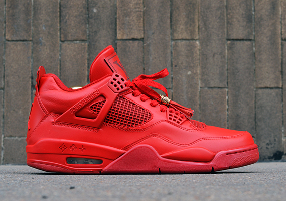Air Jordan 4: Red Louis Vuitton Don by Dank Customs