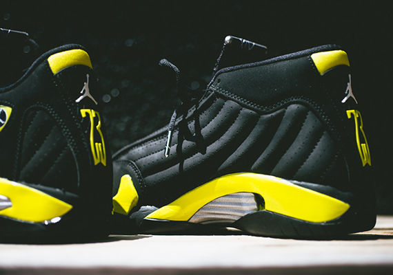 100.00 19c16 bf2a7  greece air jordan 14 thunder color black vibrant yellow  white style code 487471 070. release bc6224094