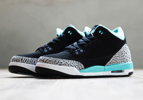Air Jordan 3 GS: Black   Mint   Cement Grey