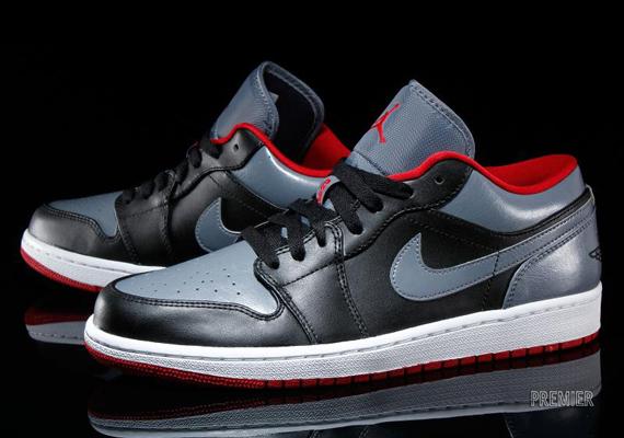 Air Jordan 1 Low Color: Black/Cool Grey-Gym Red Style Code: 553558-012.  Price: $95