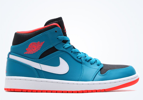 Air Jordan 1 Mid: Tropical Teal   Infrared 23   Black   White