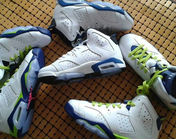 Air Jordan 6 GS: White   Bright Grape   Deep Royal   Fierce Green