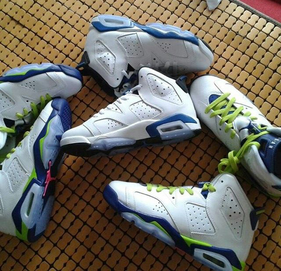 the latest 7af3f 167c1 top quality air jordan 6 retro blue lime green a3be0 24617