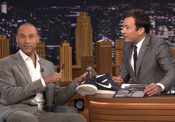 Derek Jeter Signs His Air Jordan 1 for Jimmy Fallon on The Tonight Show