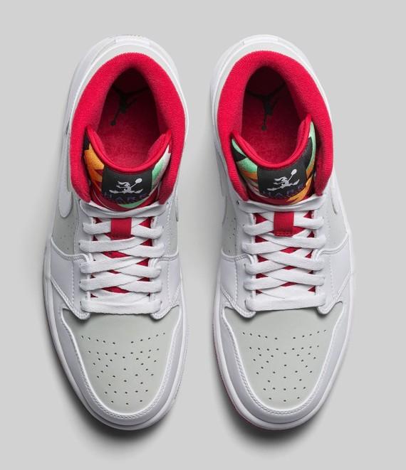 Air Jordan 1 Mediados Blanco / Verdadera Vela De Luz Roja GFSvRb1uh