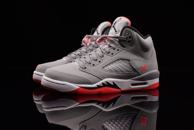 """79467446f67e The Air Jordan 5 """"Hot Lava"""" adds another option as a girls exclusive this  spring. Grey nubuck matches up with the bright crimson shade that has been  a retro ..."""