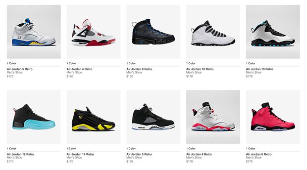 types of air jordan shoes 812845