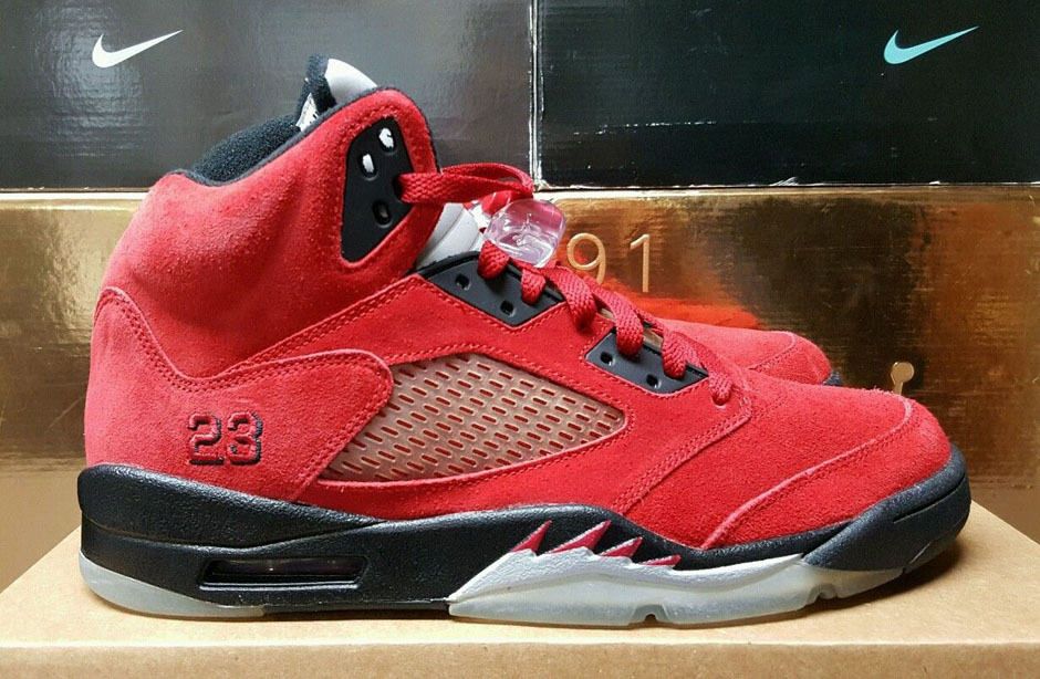air jordan 5 raging bulls red suede