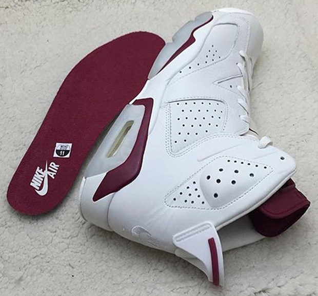 air jordan 6 white maroon baseball