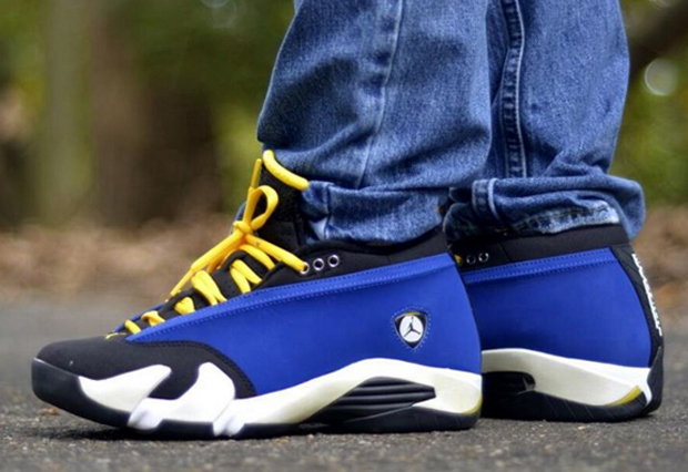 the latest 09134 b7d40 air jordan 14 laney on feet
